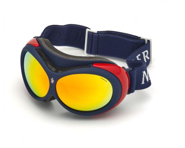 Moncler Masque de Ski ML0130 Matt Blue Red Mirror cat 3